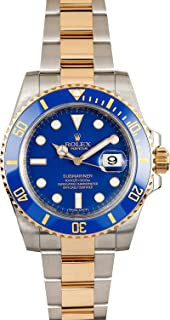 Submariner Stainless Steel Yellow Gold Watch Blue Ceramic Watch 116613