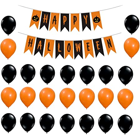 Halloween Party Items.Theme My Party Halloween Balloons Banner Kit 51 Pcs Decorations Happy Halloween Party Decoration Include Halloween Banner Latex Balloons Amazon In Home Kitchen
