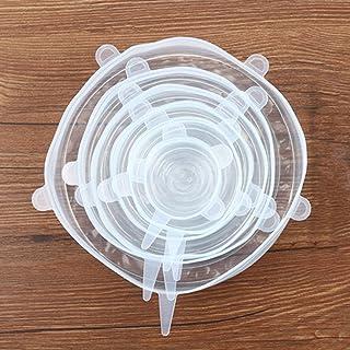 UniqueHeart 6 UNIDS/Set Práctico de Cocina de Silicona Flexible Hogar de Alimentos Frescos con Tapa Tazón de Tapas de Estiramiento Olla de Silicona Cubierta de Verduras de Frutas