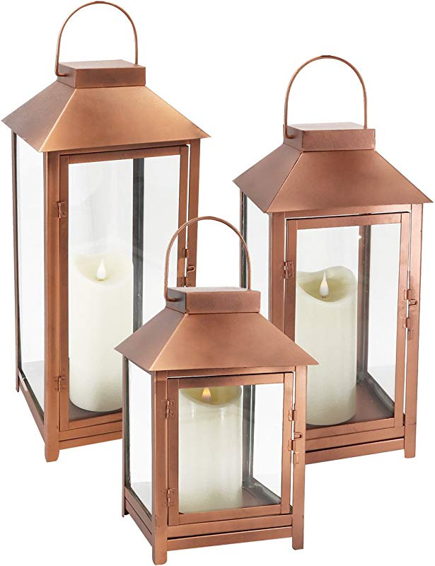 GiveU DFL 112 Big Set Of 3 Indoor And Outdoor Metal Copper Lanterns With Moving Flame Led Candle With Batteries L M S Bronze