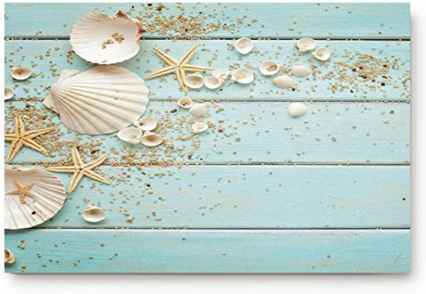 SODIKA Indoor Doormat Super Absorbent Bath Mat Non Slip Shoes Scraper Entrance Rug Carpet Beach Theme Seashells Starfish Marine Nature Sand Vintage Wood Pattern 18 X 30
