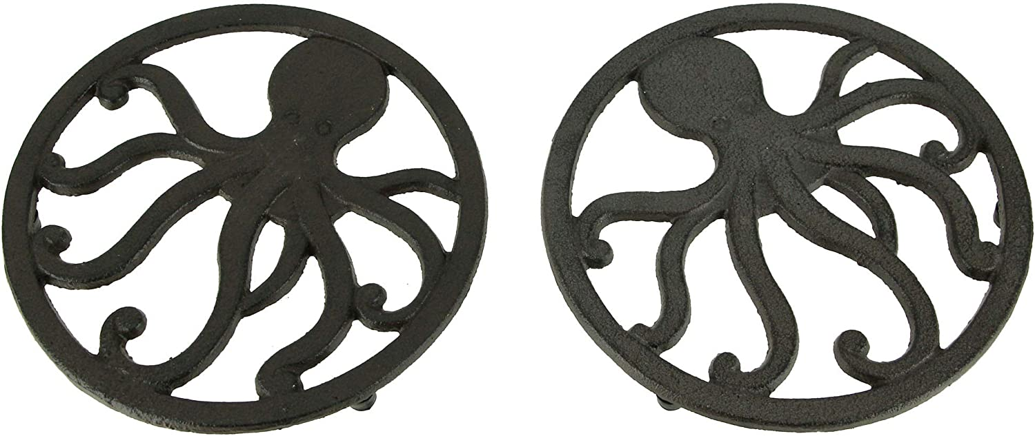 Brown Cast Iron タイムセール Coastal Octopus Trivets or Hangings Wall Set 商品 of