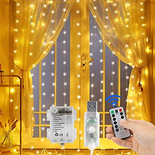 Gluckluz Window Curtain String Lights Battery USB Powered Fairy Twinkle Starry Lighting 300 LED Decor Light with Timer 8 M...