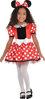 Costumes USA Red Minnie Mouse Costume for Girls, Includes a Polka Dot Dress and Headband with Ears and Bow
