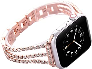 Watch Straps Compatible Apple Watch 42mm/44mm,Rose Gold Women Bling Stainless Steel Armband,Glitter Metal Bracelet with Rhinestone Folding Clasp,Replacement Wristband for iWactch Series 4/3/2/1