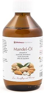WellnessInPerfektion reines Bio Mandelöl 250ml Massageöl Naturkosmetik Öl für Haut und Haar Mandel Körperöl Wellness Kosmetik für Massage I Basisöl vegan und ohne Konservierungsmittel