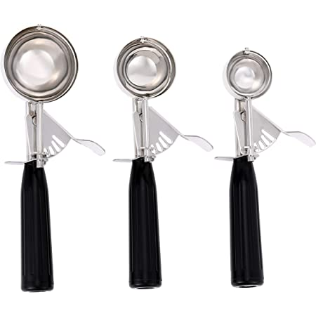 Apexstone Cookie Scoop Set of 3,Ice Cream Scoop Set of 3,Stainless Steel Ice Cream Scoop with Trigger Include Small Size(1.58 Inch),Medium Size(1.97 Inch),Large Size(2.48 Inch)