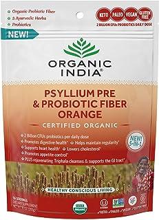 ORGANIC INDIA Psyllium Pre and Probiotic Fiber Orange, Digestive Support, Immune Support Organic Psyllium Prebiotic Fiber,...
