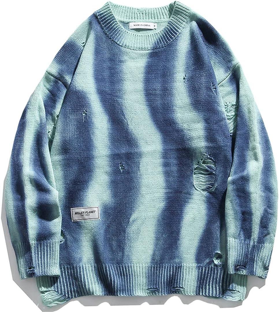 GHURFNP Tie Dye Sweater Men Winter Streetwear Long Sleeve Pullover Knitwear Loose Hollow Lover Sweater