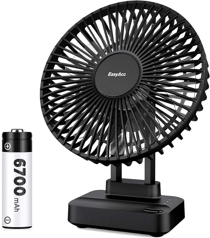 EasyAcc Battery Table Fan Air Circulation Fan 6700mAh Strong Wind Cooling 90° Adjustable Desk Fan Long Lasting 3 Speeds Low Noise Desktop Fan for Bedside Kitchens Dressing Tables Black