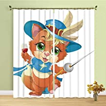 YOLIYANA Cat Comfortablr Curtain,Kitten Musketeer with a Sword and a Glass of Wine Knight Cat Fun Cartoon Art for Hotel,196''W x 83''H
