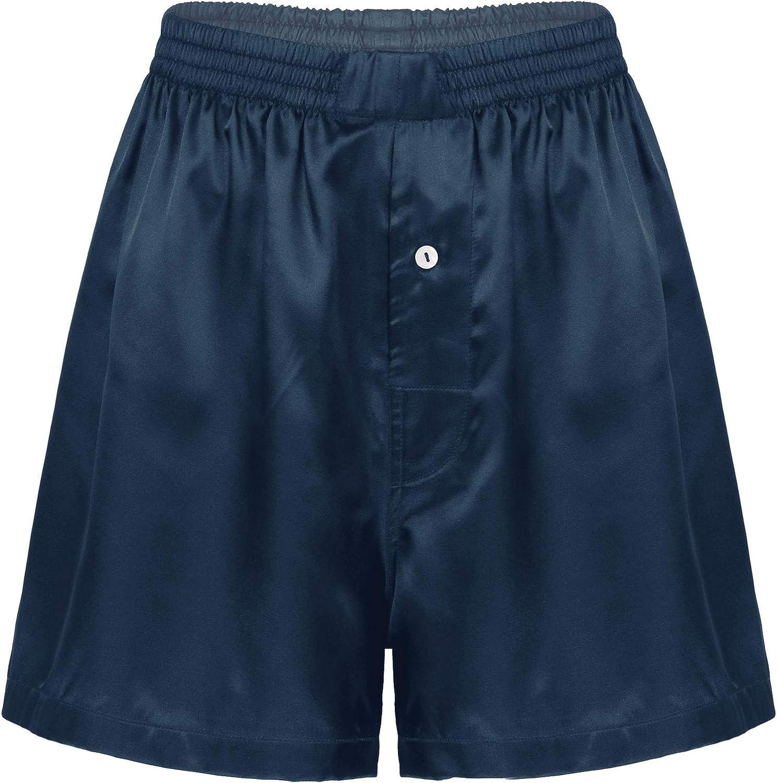 Freebily Men's Silky Satin Boxer Shorts Silk Lips Print Pajamas Sleepwear Lounge Underwear