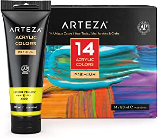 Arteza Colori Acrilici Professionali, Set Da 14 Tubetti Grandi Da 120 ml, Tempere Acriliche per Dipingere su Tela, Pigment...
