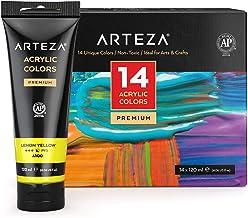 ARTEZA Acrylic Paint, Set 14 Colors/Pouches (120 Ml/4.06 Oz.) with Storage Box, Rich Pigments, Non Fading, Non Toxic Paint...