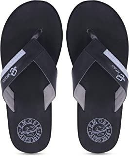 Emosis Men's 387 Tan Brown Black Casual Daily Use Rubber Unisex Slipper and Flip Flop