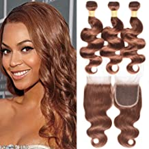 WOME Brazilian Remy Hair 3 Bundles Body Wave Hair Weaves With 4x4 Lace Frontal Closure Pure Color #30 Light Auburn Human Hair Bundles With Closure (10 12 14+10, Dark Auburn(#30))