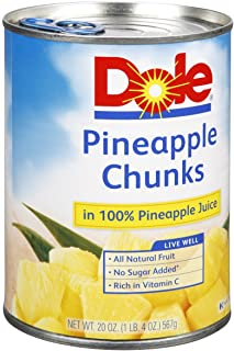 Dole, Pineapple Chunks in 100% Pineapple Juice, 20-Ounce Can (Pack of 5)