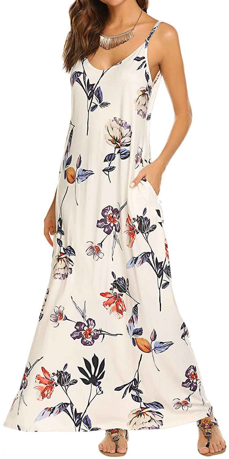 OURS Women's Summer Casual Floral Printed Bohemian Spaghetti Strap Floral Long Maxi Dress with Pockets