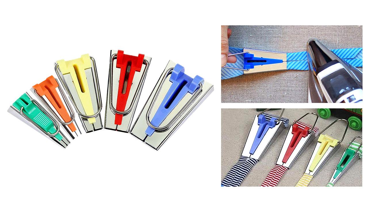 HONEYSEW Single Double Fold Bias Tape Maker Tool Kit Set Fabric Bias Tape Maker Tools Folding Fabric and Biasing Strips 15sizes