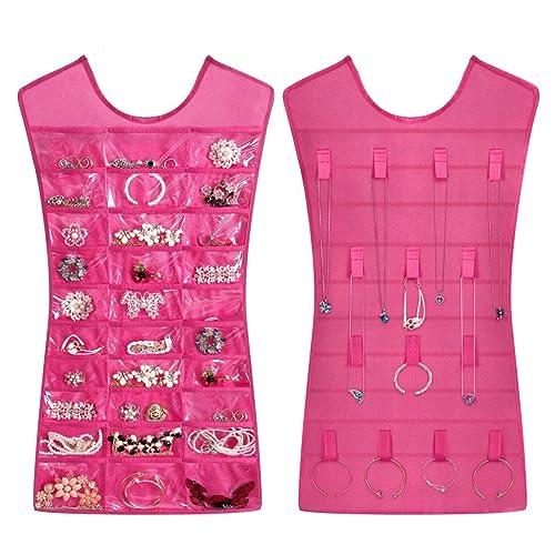 Schmuckhalter im Kleid-Design, Organizer, doppelseitig, für Ketten, Ringe und Ohrringe mit mehreren Taschen