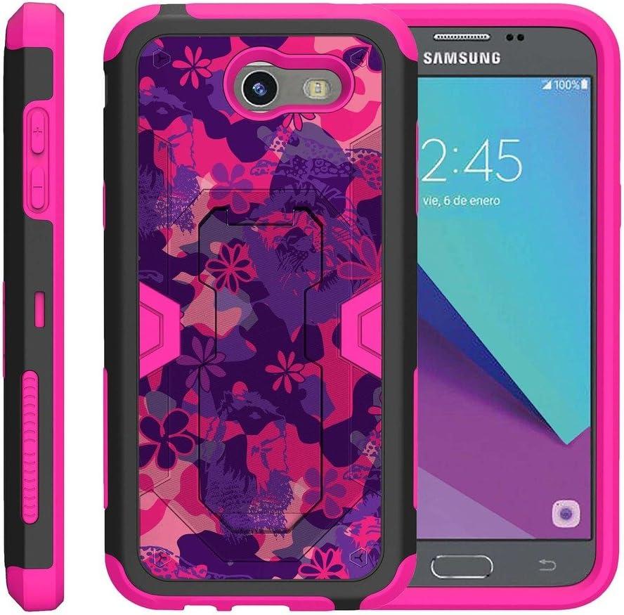 TurtleArmor   Compatible with Samsung Galaxy J3 Emerge Case   J3 2017 Case   J3 Prime [Clip Caliber] High Impact Shockproof Armor Kickstand Holster Belt Clip Pink Case - Pink Purple Flowers