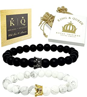 Couple Moss//Howlite Natural Gemstone Bracelet 7-8/'/' Elasticated Healing Stone