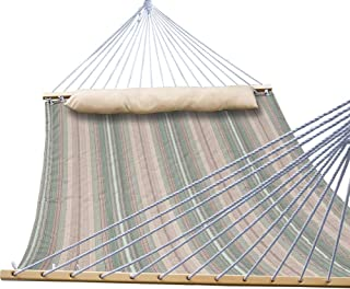 TOUCAN OUTDOOR Double Hammock Quilted Fabric with Pillow and Speader Bar, 450 Pound Capacity, Perfet for Outdoor Patio Yard, Elegant Desert Stripe