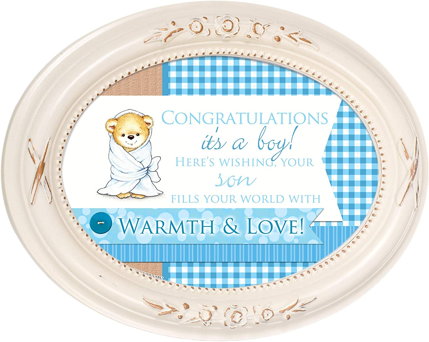 Cottage Garden Congratulations It's A Boy Distressed Ivory Floral 5 x 7 Oval Table and Wall Photo Frame