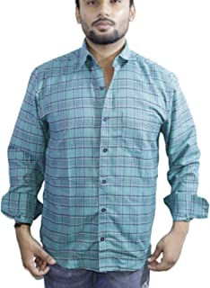 Spanish One Look Mens Casual Long Sleeve 100% Cotton Regular Fit Button Down Casual Shirts Dress in Light Blue Printed Check Shirt for Men