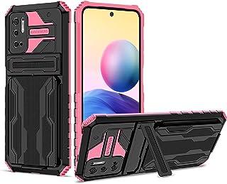 Lijc Kompatibel med Xiaomi Redmi Note 10 5G / Poco M3 Pro Fodral [Skärmskydd] med Kickstand Avtagbar Korthållare Omslag Mj...