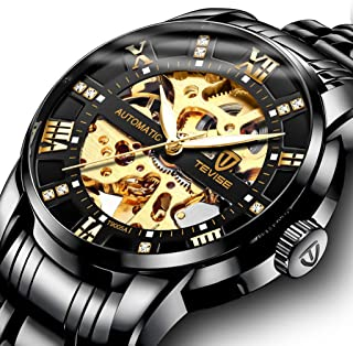 Watch,Mens Watch,Luxury Classic Skeleton Mechanical Large Face Gold Skull Stainless Steel Watch with Link Bracelet,Dress Waterproof Watch for Men