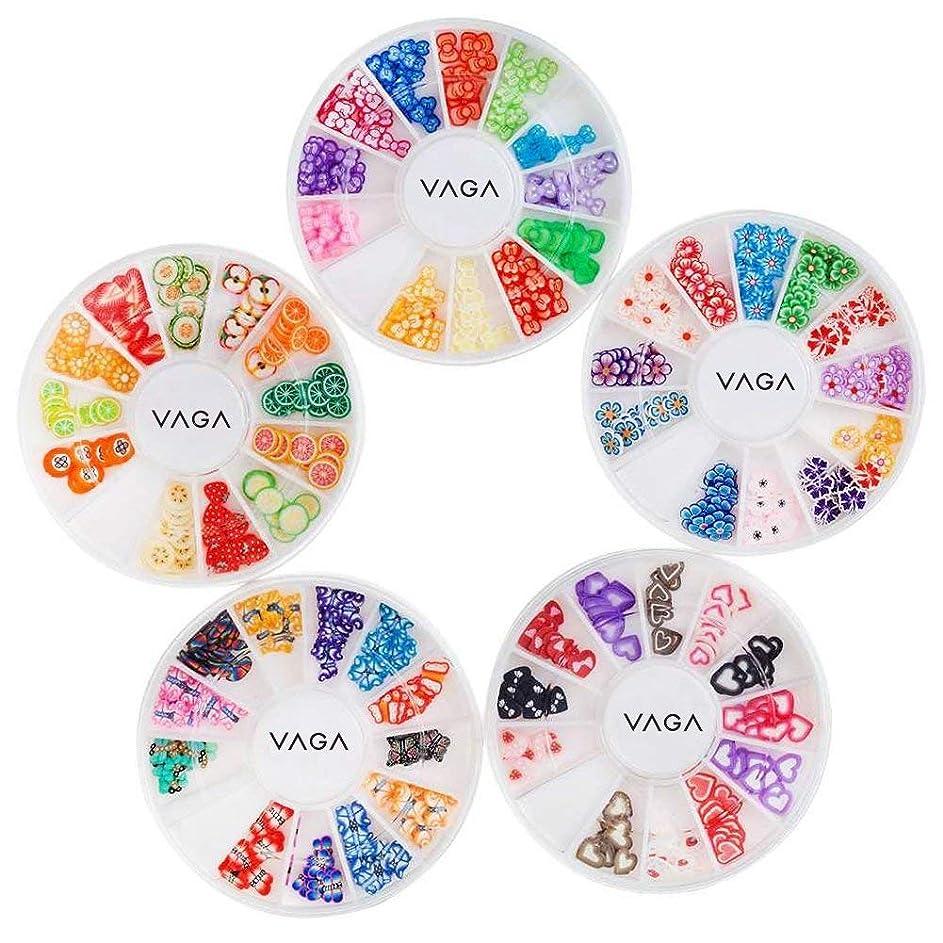 トピック保持礼拝5高品質マニキュア3Dネイルアートデコレーションホイールのアメージングバリューセットキットは、心、動物、フルーツ、蝶、花のパターン/形状と多くの異なる色でフィモスライス/デカールピースとホイール