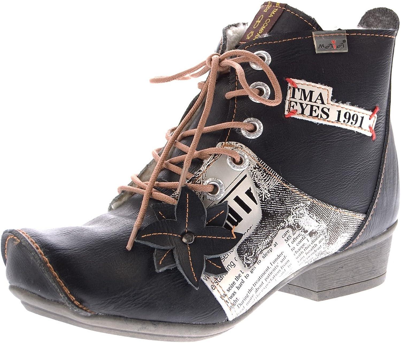 TMA Leder Damen Damen Damen Stiefeletten gefüttert Comfort Stiefel echt Leder Winter Schuhe 8077 Gr. 36-42  9177d8
