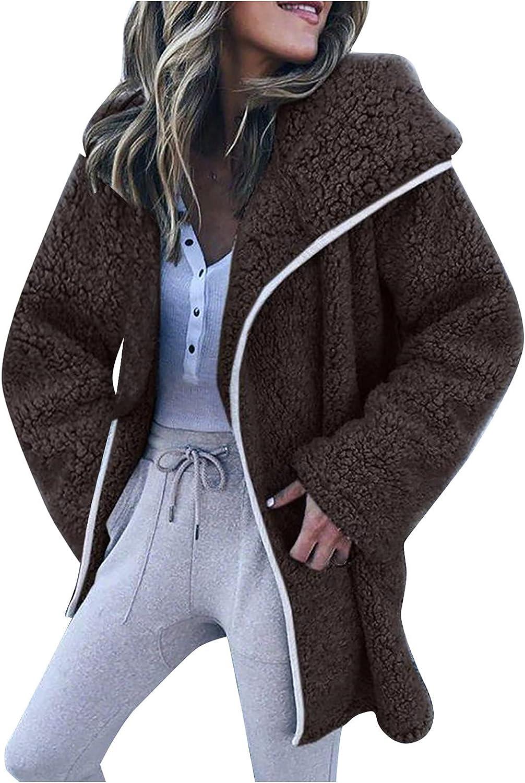 Haozin Winter Warm Jackets for Women Faux Fur Pea Coat Solid Fleece Long Sleeve Hooded Outerwear