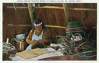 St. Ignace, Michigan - Native American Woman Basket Weaving (12x18 Art Print, Wall Decor Travel Poster)
