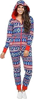 LZJDS Estilo caliente Navidad otoño e invierno Navidad Mujer Pijama Hogar Mono Todo en Uno con Capucha Navidad Alce Reno Impresión Pijama Azul, S
