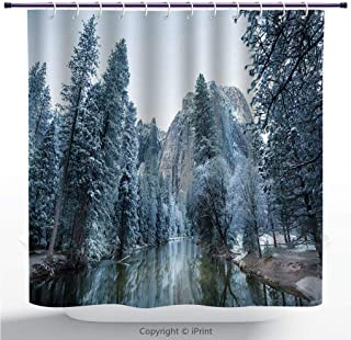 MyCCIC Funky Shower Curtain/Snow, Forest High Trees with Snow Camping Happy Camper Outdoor Scene Nature Preservation, Multicolor/Bathroom Shower Curtains Deasign