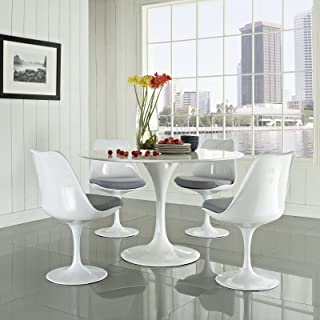 Modway Lippa Mid-Century Modern Upholstered Fabric Swivel Kitchen and Dining Room Chair in Gray
