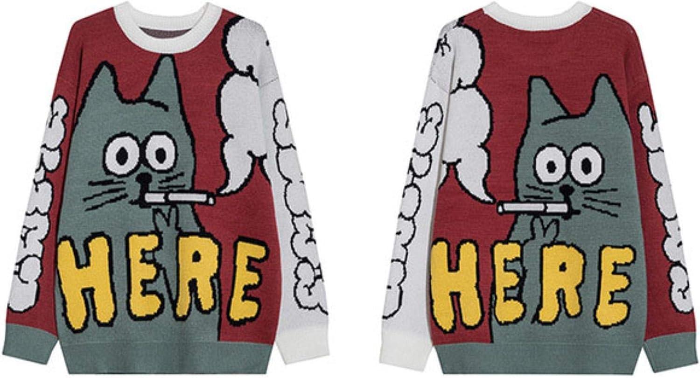 Hip Hop Cartoon Cat Time sale Print Knitted C Mail order Women Streetwear Men Sweater