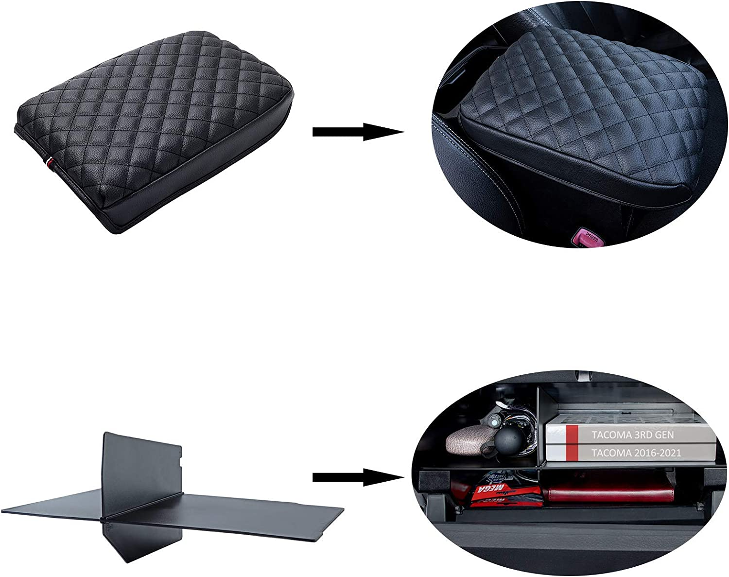 JKCOVER Max 42% OFF Purchase Glove Box Divider Organizer Compatible Armrest Cover and