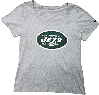 Nike Women's New York Jets Champ Drive T-Shirt Heather Grey/Jets Green/White 841974-063 (X-Large)