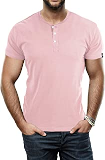 X RAY Men's Soft Stretch Cotton Short Sleeve Solid Color Henley T-Shirt, Fashion Casual Tee for Men