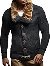 Leif Nelson Men's Knitted Cardigan | Long-sleeved slim fit hoodie | Stylish button up cardigan with shawl collar for Men
