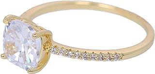 MOONSTONE Fashion Engagement Ring for Women Dazzling Cushion Cut Prong Setting Zircon Crystal