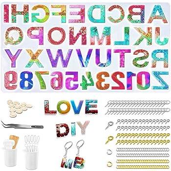 Xiangmall 235 Piezas Resina Epoxi Moldes Alfabeto N/úmeros Silicona Moldes DIY con 200 Piezas Accesorios Llaveros Manualidades Joyeria 235 PCS