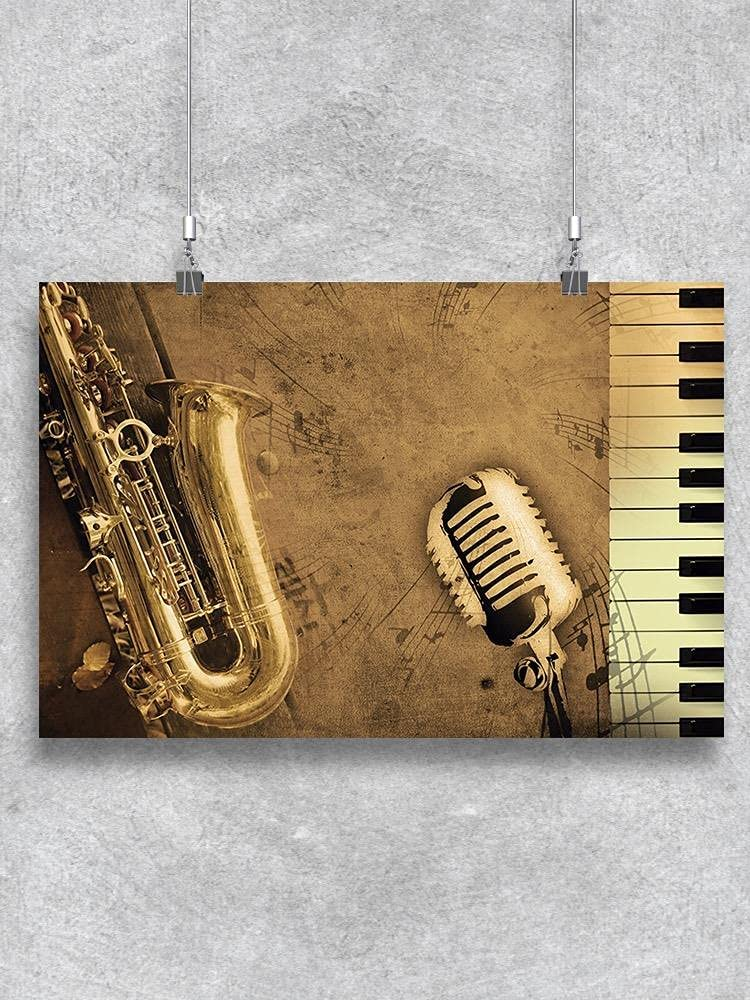 Retro Piano Recommended Sale special price Sax Microphone and Poster