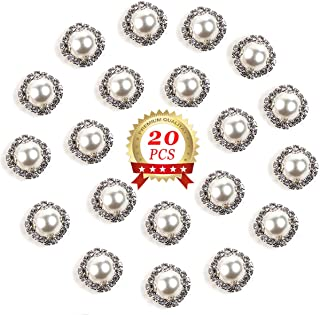 Pearl Rhinestone Button 20 Pcs Round Crystal Faux Flatback Pearl Rhinestone Buttons Embellishments DIY Accessories,White