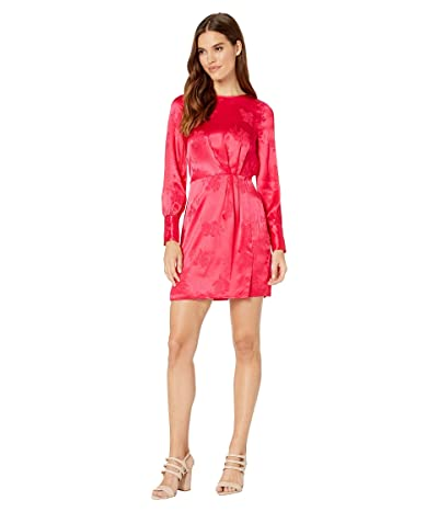 1.STATE Long Sleeve Floral Jacquard Sheath Dress (Retro Pink) Women