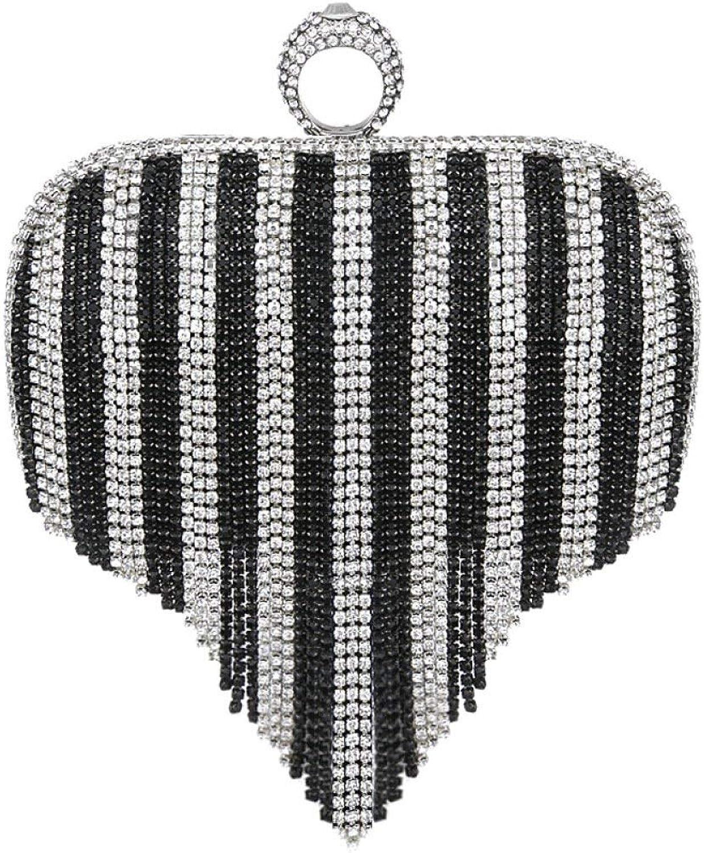 AHIMITSU Tote Damen Clutch Bag herzförmigen herzförmigen herzförmigen Quaste Diamant Kleid Abendtasche Party Prom Hochzeit Handtasche Geldbörse für Frauen (Farbe   schwarzandWeiß, Größe   16  4.5  9.5cm) B07PS9TJH1  Einfacher Stil cbbfe5