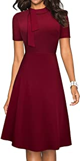 HOMEYEE Women's Classic Vintage Tie Neck Formal Cocktail Flare Dress A204